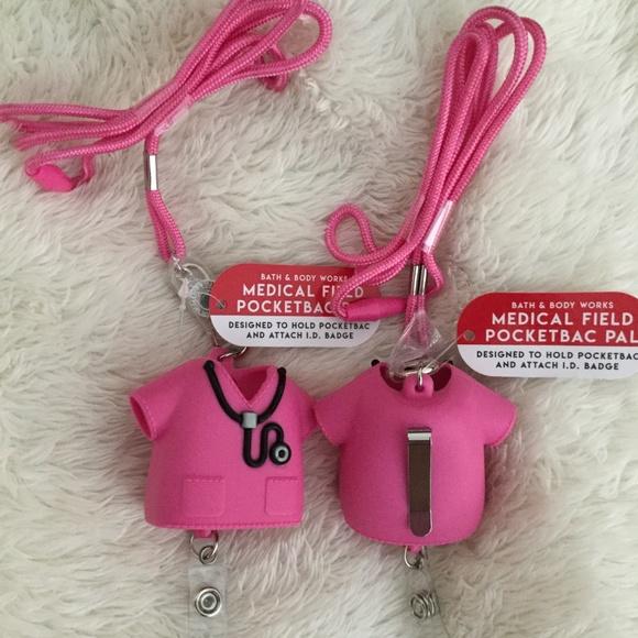 Bath Body Works Pocketbacs Holder PINK Scrubs Medical Field w Lanyard
